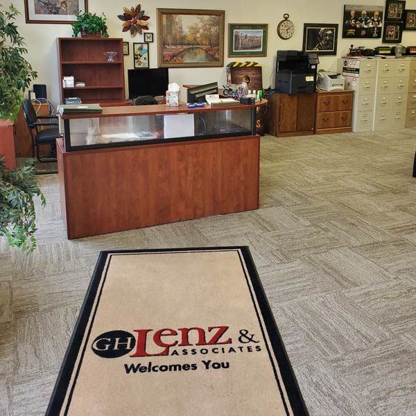 Inside desk of Gordon Lenz Insurance office